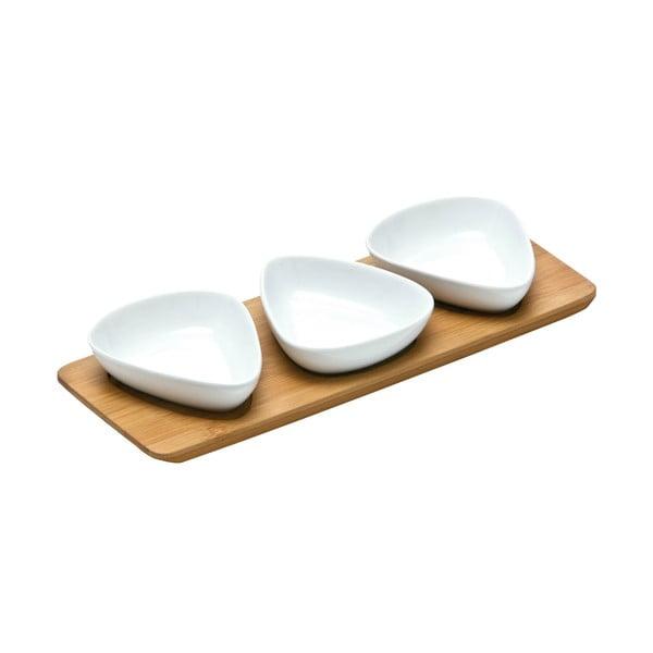Sada 3 servírovacích misiek na bambusovej tácke Premier Housewares Trio Snacks