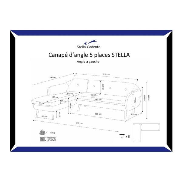 Pohovka Stella Cream s leňoškou na ľavej strane