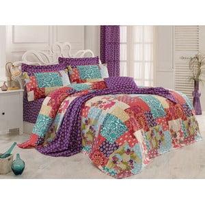 Sada prikrývky na posteľ, plachty a 2 vankúšov Virgem Fuchsia, 200x235 cm