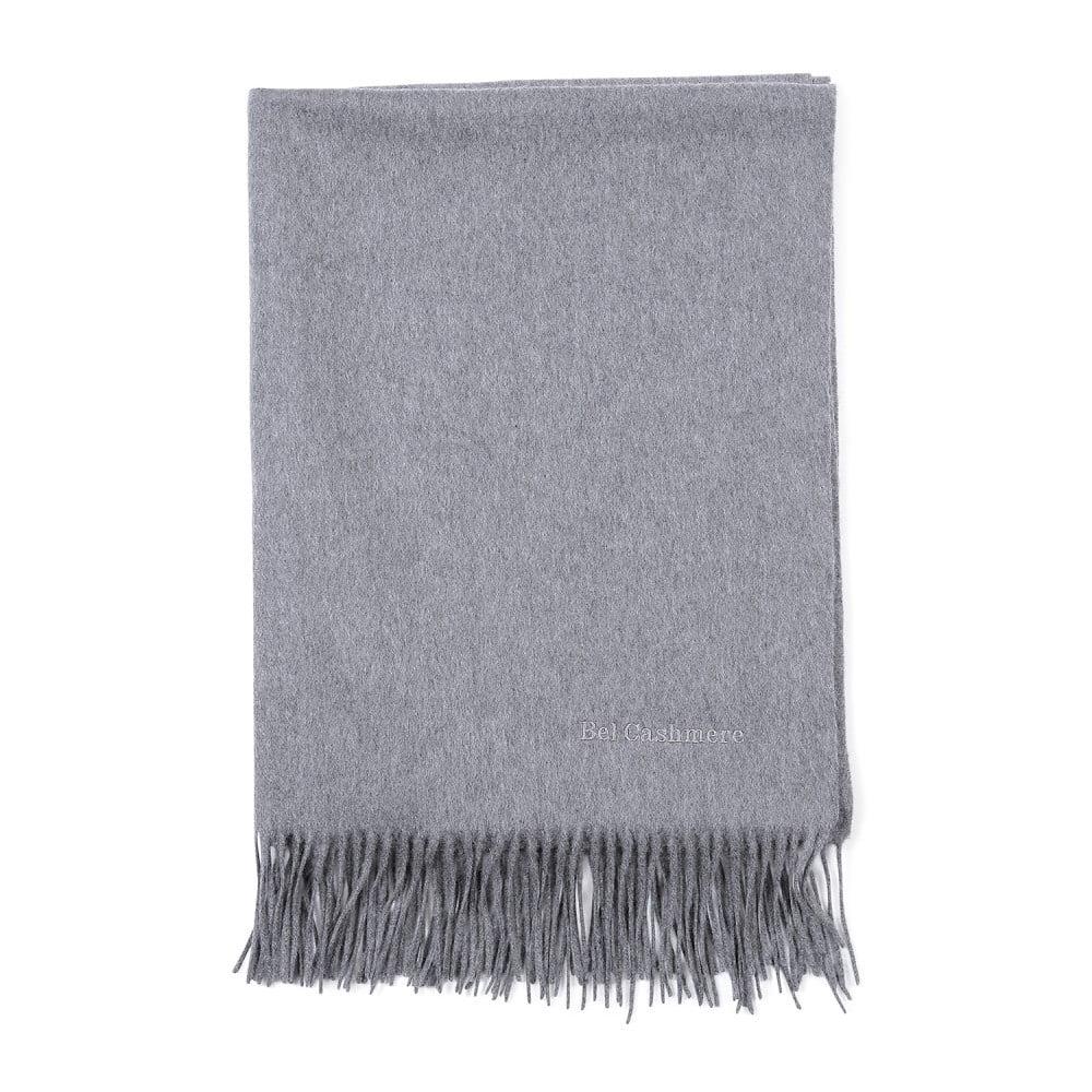 Sivý kašmírový šál Bel cashmere Lea, 200 × 70 cm