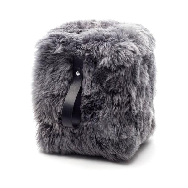 Sivo-čierny hranatý puf z ovčej vlny Royal Dream