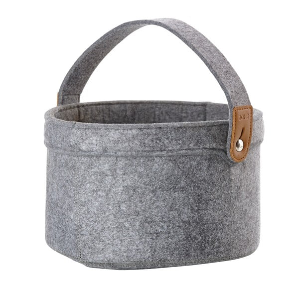 Úložný košík z filcu bez veka Zone, sivý