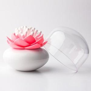 Stojan na vatové tyčinky QUALY Lotus, bielo-ružový