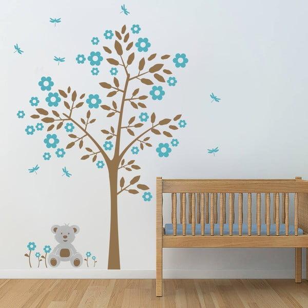 Samolepka na stenu Strom a medvedík, modrá - 2 archy, 70x50 cm