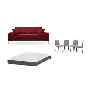 Set trojmiestnej červenej pohovky, 4 sivobéžových stoličiek a matraca 160 × 200 cm Home Essentials