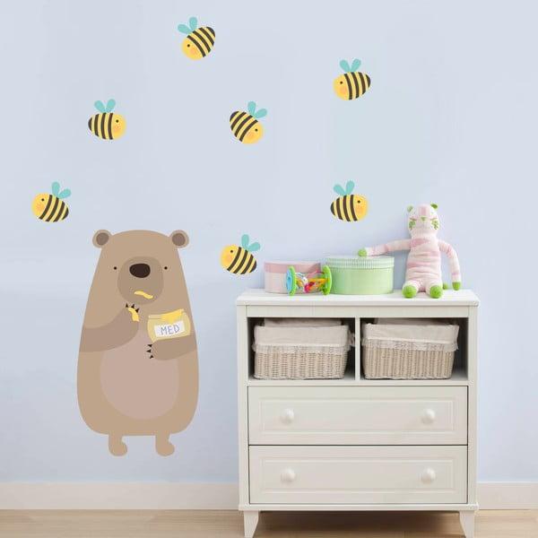 Samolepka na stenu Medový medvedík, 70x50 cm