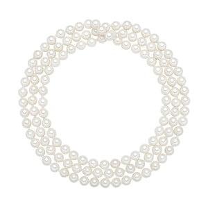 Perlový náhrdelník Muschel, biele perly 6 mm, dĺžka 90 cm