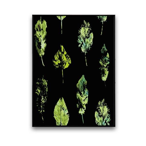 Plagát s listami, čierne pozadie, 30 x 40 cm