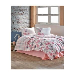 Bavlnený pléd cez posteľ Sima Pink, 160 x 230 cm