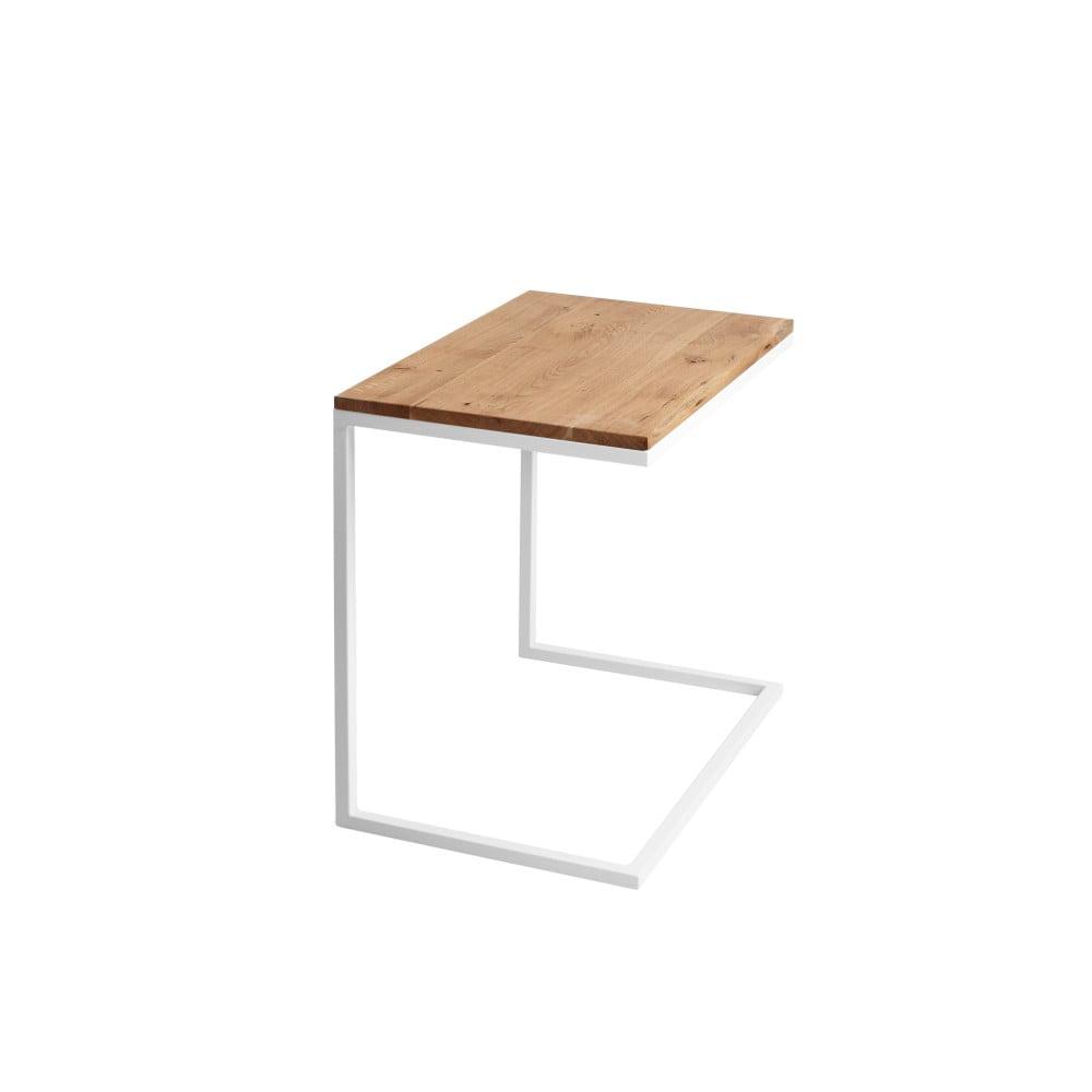 Stôl s bielou podnožou s doskou z masívneho duba Custom Form Lupe