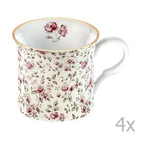 Sada 4 hrnčekov Katie Alice Ditsy Flower 250 ml, biely kvety