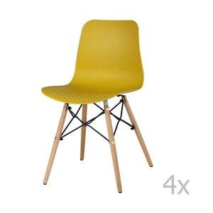 Sada 4 žltých jedálenských stoličiek sømcasa Tina