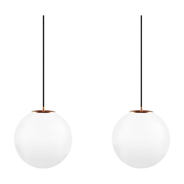 Bielo-medené dvojité závesné svietidlo s čiernym káblom a čiernou objímkou Sotto Luce Tsuki, Ø 30 cm