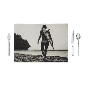 Čierno-biele prestieranie Home de Bleu Tropical Surf, 35 x 49 cm