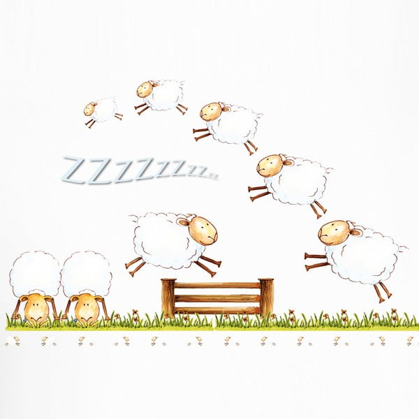 Dekoratívna samolepka Counting Sheep