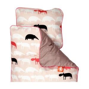 Detské ružové obliečky Done By Deer Zoopreme, 100x130cm