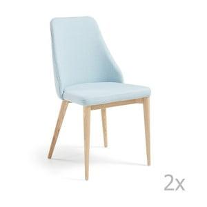 Sada 2 svetlomodrých jedálenských stoličiek La Forma Roxie