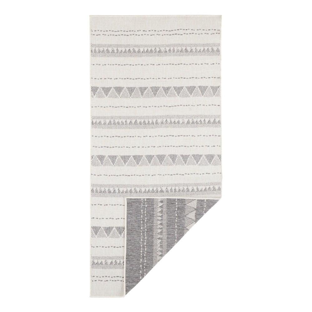 Sivo-krémový vonkajší koberec Bougari Bahamas, 80 x 350 cm