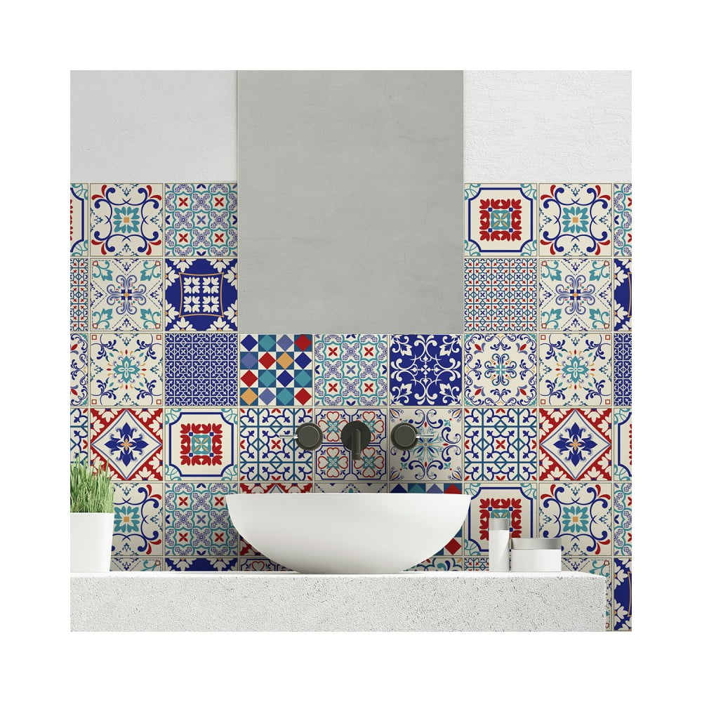 Sada 24 nástenných samolepiek Ambiance Wall Decal Cement Tiles Azulejos Sofiana, 10 × 10 cm
