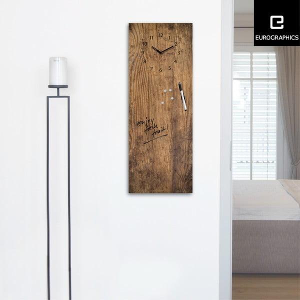 Magnetická tabuľa s hodinami Used Wood, 30 x 80 cm