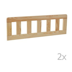 Sada 2 hnedých drevených zábran k detskej postieľke Pinio Classic, 160 × 70 cm