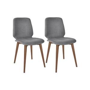 Sada 2 sivých jedálenských stoličiek s nohami z masívneho orechového dreva WOOD AND VISION Basic