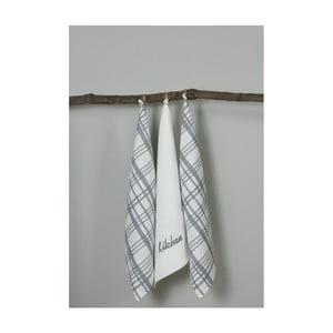 Sada 3 bielo-sivých kuchynských utierok My Home Plus Kitchen, 50×70 cm