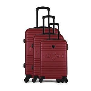 Sada 3 vínových cestovných kufrov na kolieskach GENTLEMAN FARMER Cadenas Integre Duro
