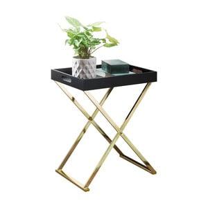 Čierny príručný stolík s nohami v zlatej farbe Skyport Nina TV, výška 61 cm