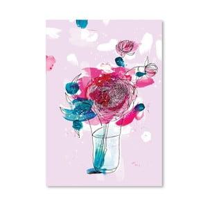 Plagát Pink Flowers 2, 30x42 cm