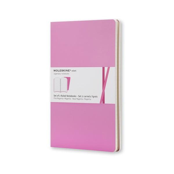 Sada 2 notesov Moleskine Pink Ruled, linkované 13x21 cm