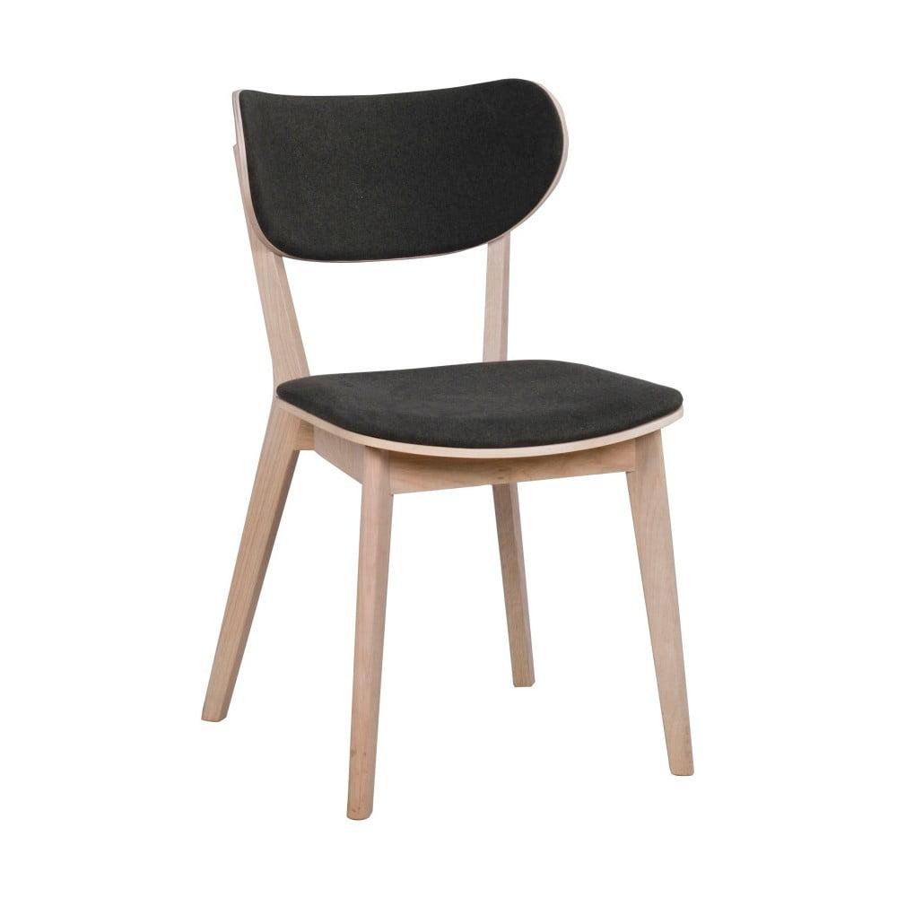 Svetlohnedá dubová stolička s čiernym sedadlom a opierkou Rowico Cato