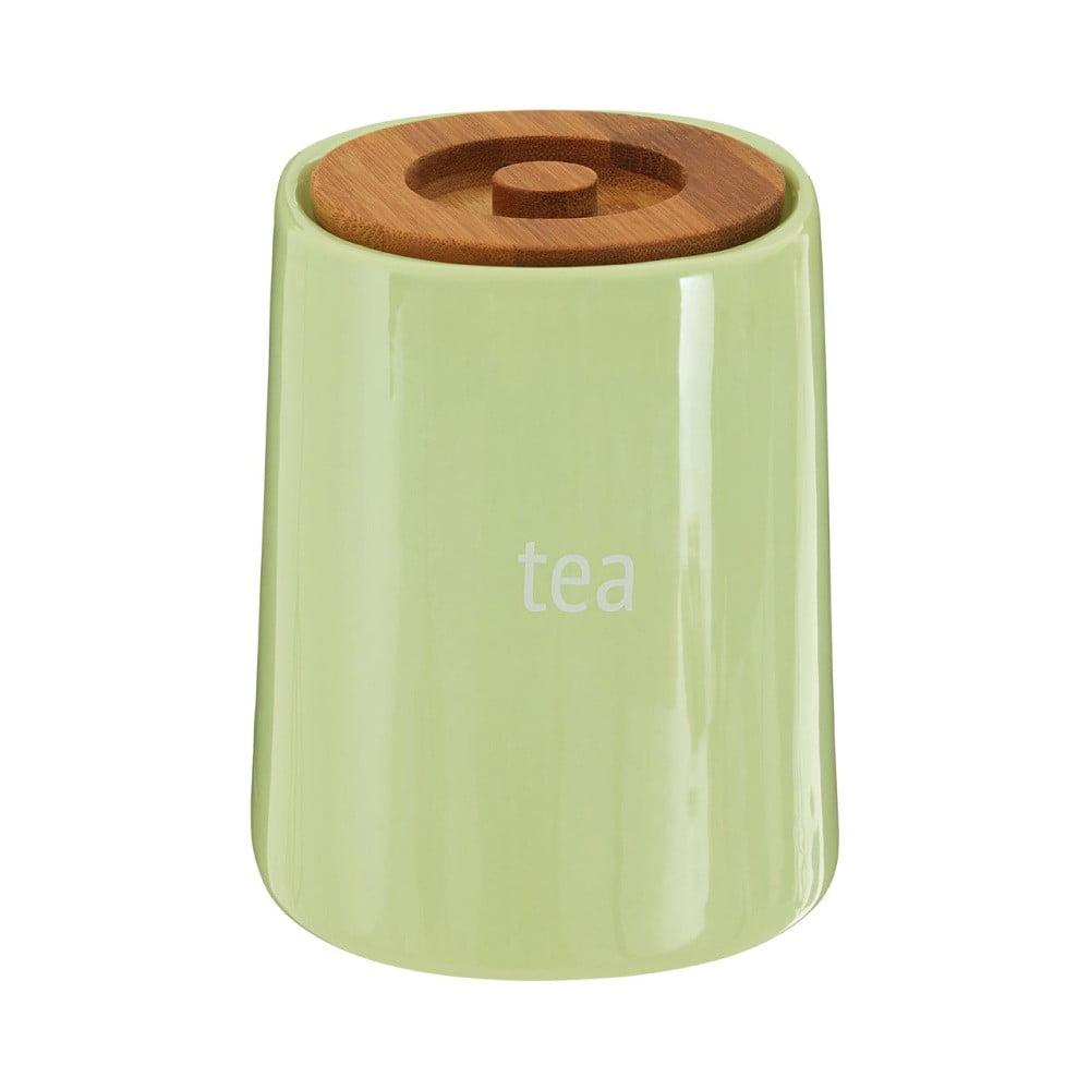 Zelená dóza na čaj s bambusovým vrchnákom Premier Housewares Fletcher, 800 ml