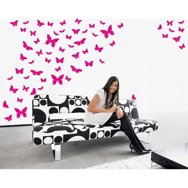 Samolepka na stenu Motýlí raj, ružová