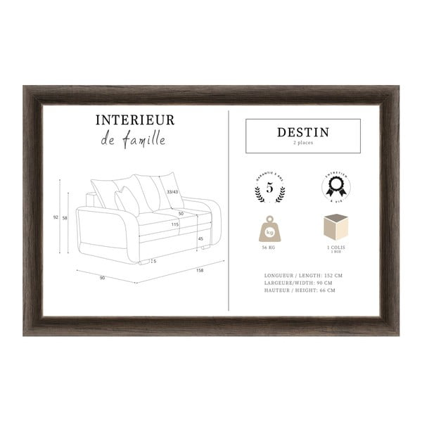 Krémovohnedá dvojmiestna pohovka INTERIEUR DE FAMILLE PARIS Destin