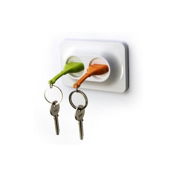 Nástenný držiak s kľúčenkami QUALY Double Unplug, zelená-oranžová