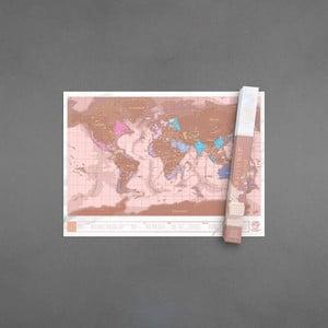Zoškrabávacia mapa sveta vo farbe rose gold Luckies of London Millenial