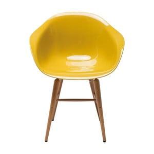 Sada 4 žltých jedálenských stoličiek Kare Design Forum Armrest