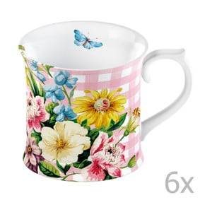Sada 6 hrnčekov Katie Alice English Garden Pink, 350 ml