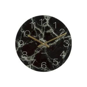 Čierne nástenné hodiny Karlsson Glass Marble, ⌀ 40 cm