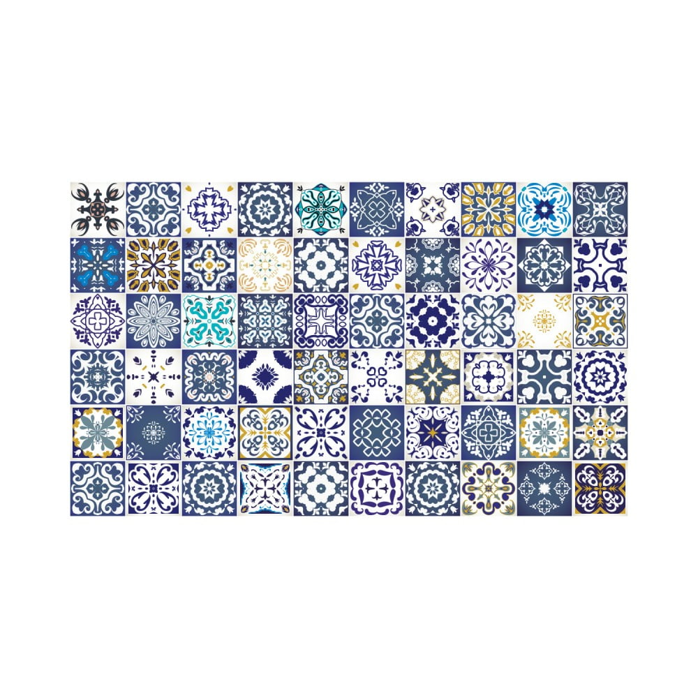Sada 60 nástenných samolepiek Ambiance Wall Decal Tiles Azulejos Cyprus, 15 × 15 cm