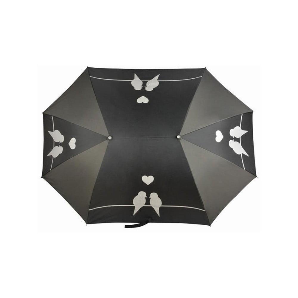 Čierny golfový dáždnik pre dve osoby Love Birds, dĺžka 129 cm
