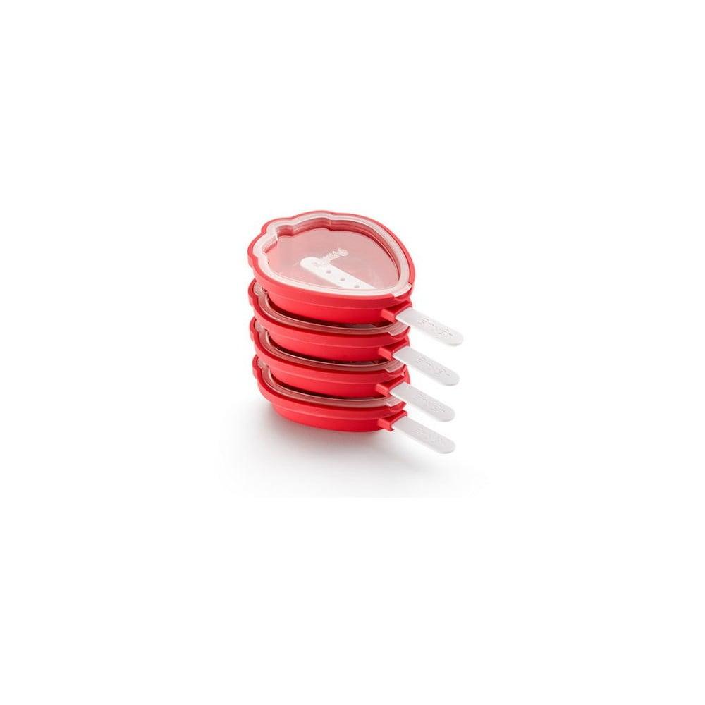Súprava 4 červených silikónových foriem na zmrzlinu v tvare jahody Lékué