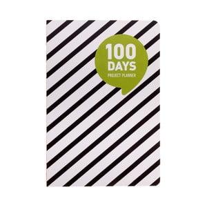 Plánovač Languo 100 Days Black/White prúžky