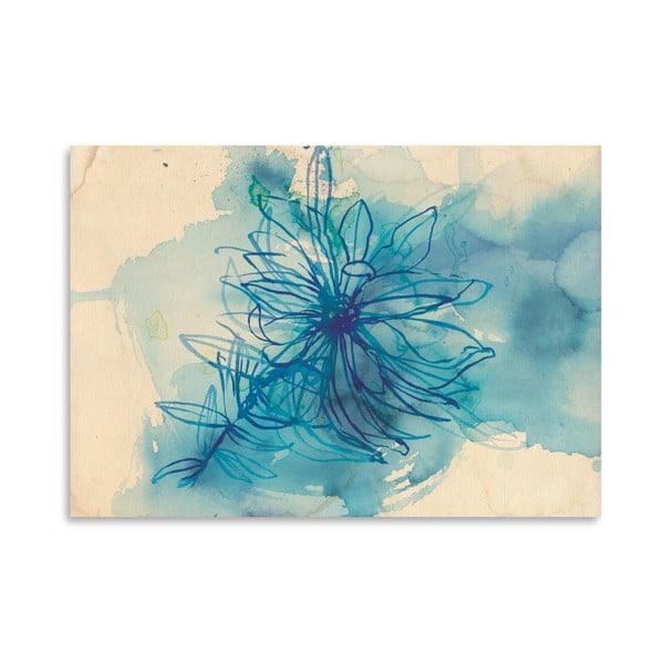 Plagát Blue Wash Wild Flower, 30x42 cm