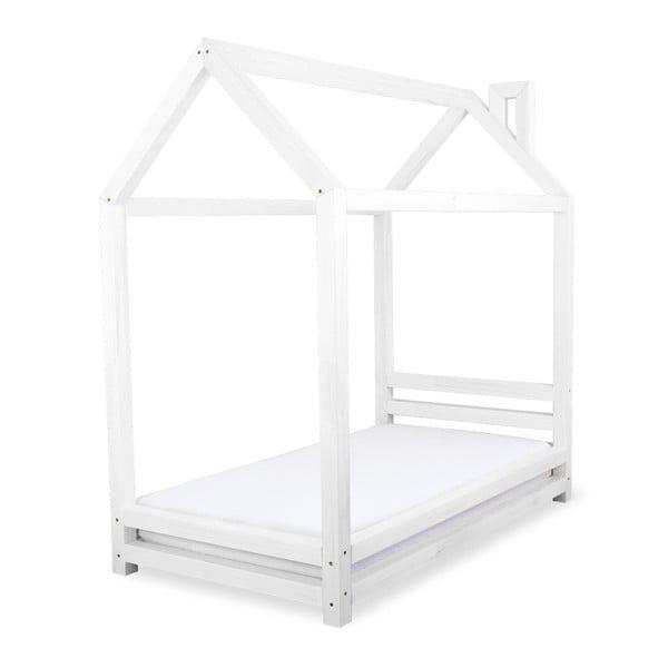 Detská biela posteľ zborovicového dreva Benlemi Happy, 90×200cm