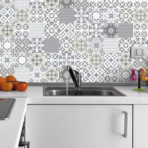 Sada 60 nástenných samolepiek Ambiance Wall Decal Tiles Artistic Shade of Grey, 20×20 cm