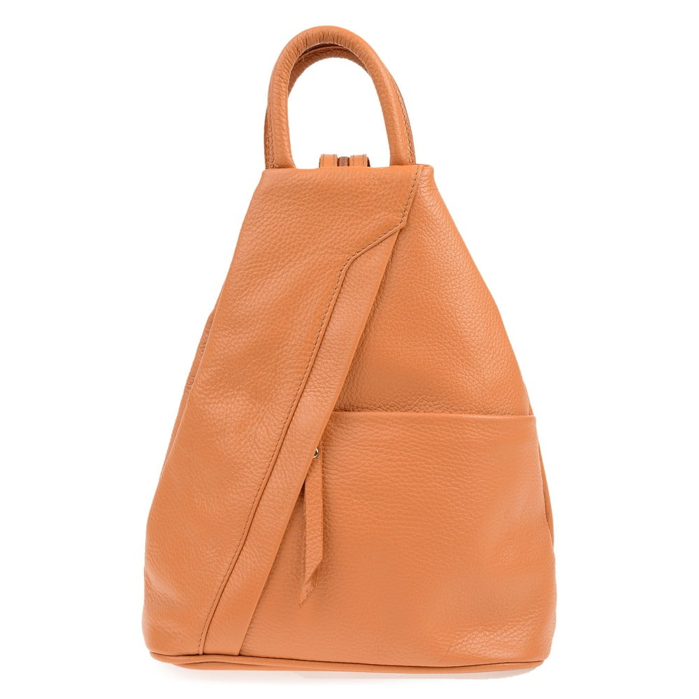Hnedý kožený batoh Carla Ferreri Emilia