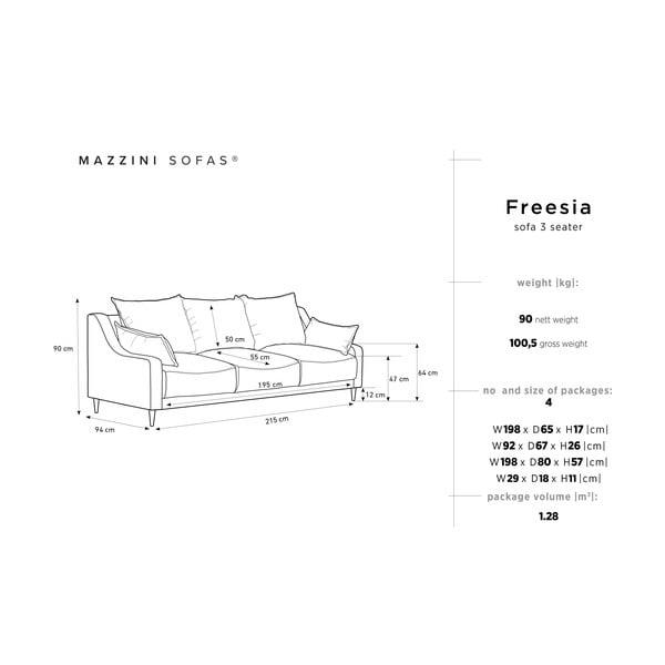 Sivá trojmiestna rozkladacia pohovka Mazzini Sofas Freesia