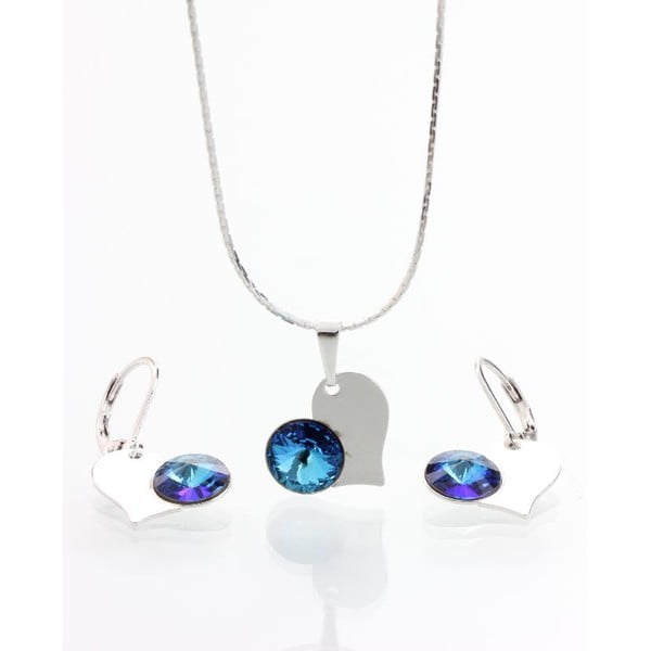 Set náhrdelníka a náušníc so Swarovski krištáľmi Yasmine Blue Heart